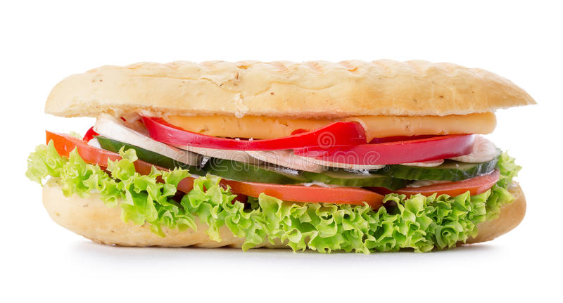 Long sandwich isolated on a white background royalty free stock images