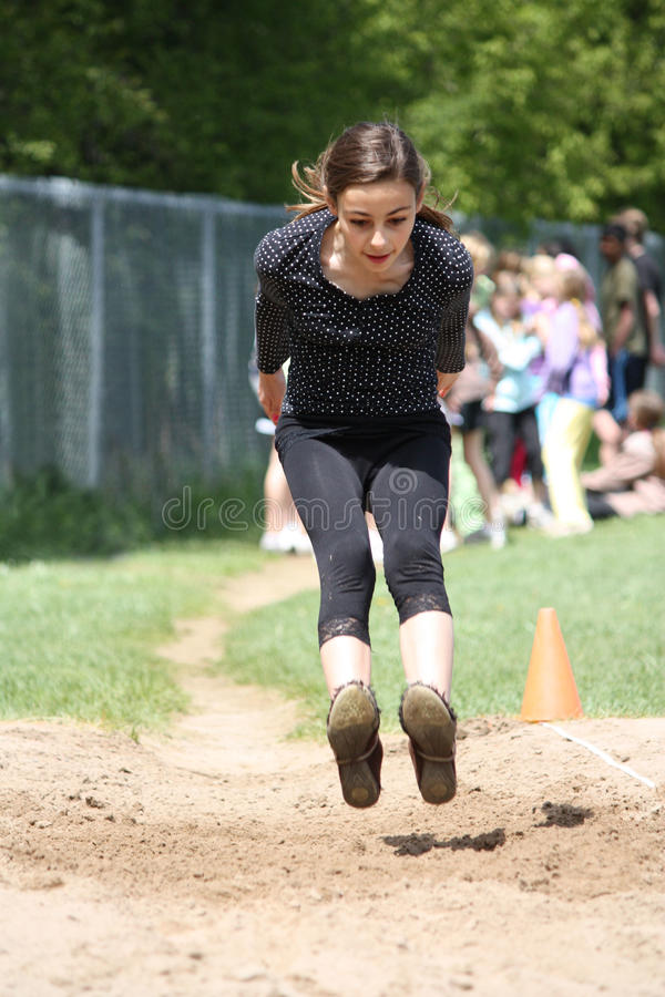 Long saut courant photo libre de droits