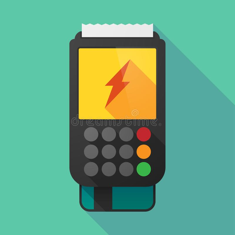 Long shadow dataphone with a lightning royalty free illustration