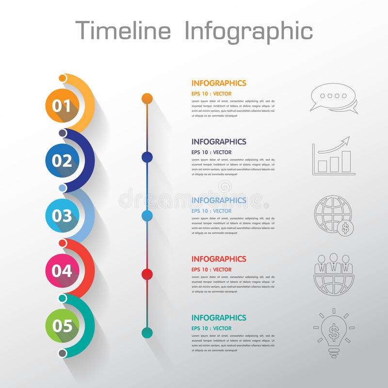 Long Shadow Design Clean Number Timeline TemplateGraphic Or Web