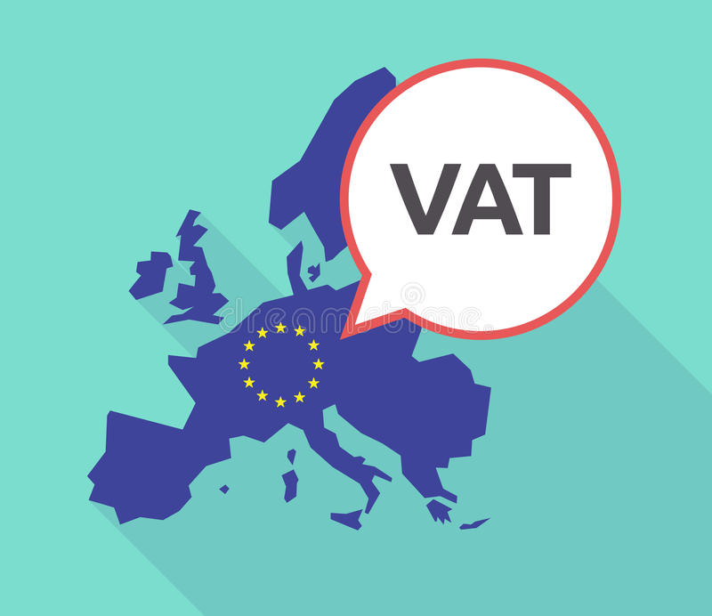 Long shadow EU map with the value added tax acronym VAT stock photography
