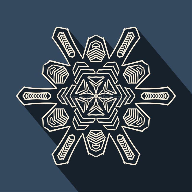 Long shadow filigree snowflake icon. Flat icon of filigree christmas snowflake with long shadow royalty free illustration