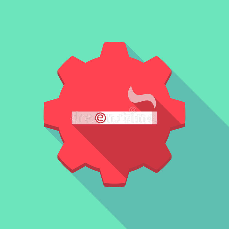 Long shadow gear icon with an electronic cigarette vector illustration