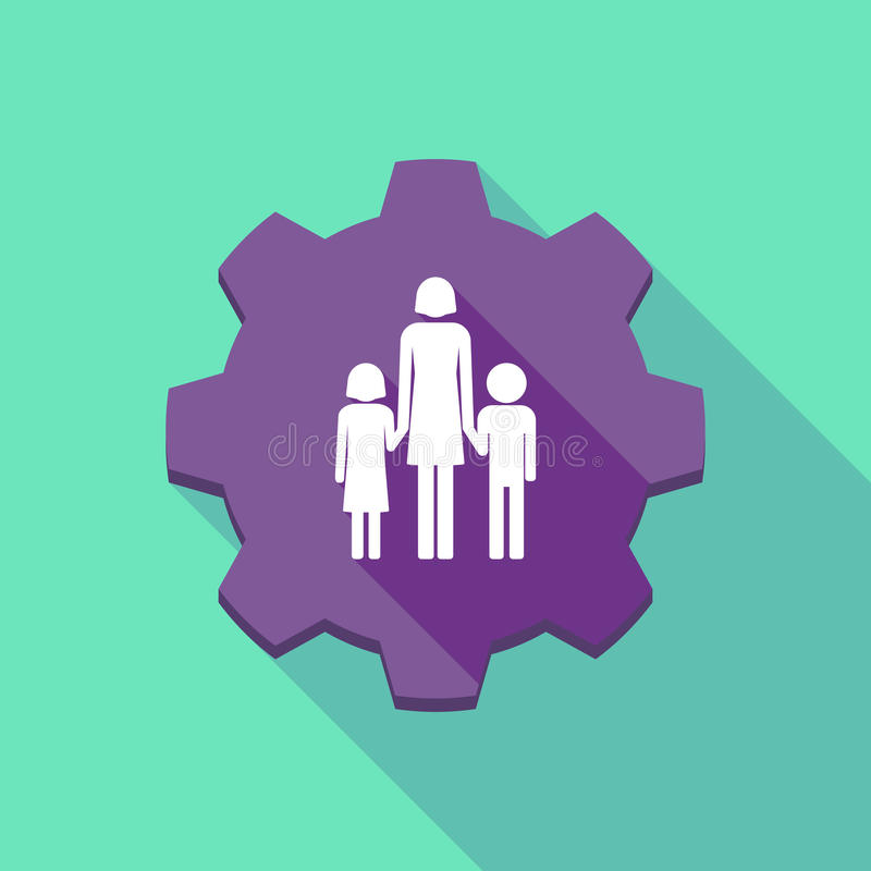 Long shadow gear icon with a female single parent family pictogr. Illustration of a long shadow gear icon with a female single parent family pictogram vector illustration