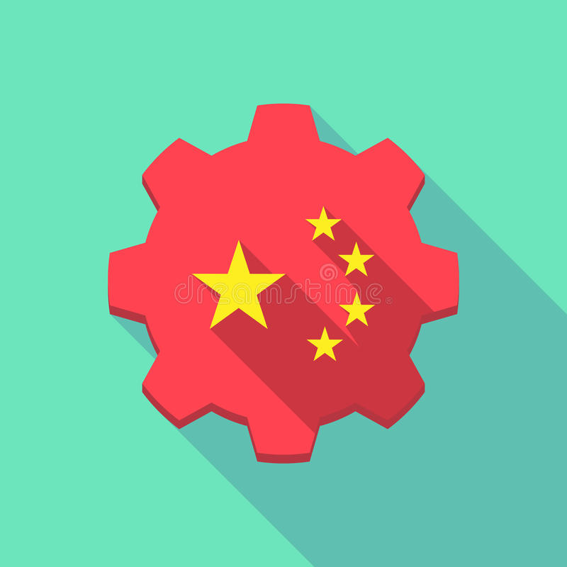 Long shadow gear icon with the five stars china flag symbol stock illustration