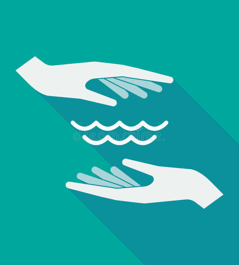 Long shadow hands with a water sign royalty free illustration