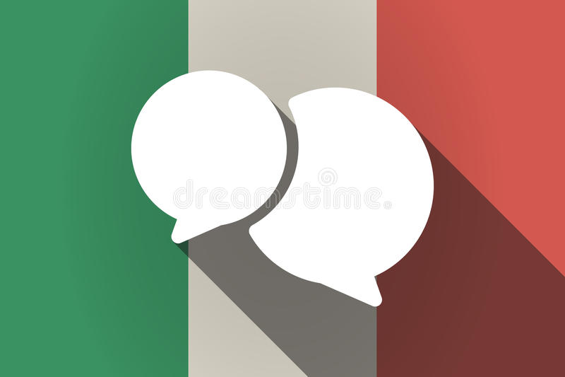 Long shadow Italy flag with comic balloons. Illustration of a long shadow Italy flag with comic balloons stock illustration