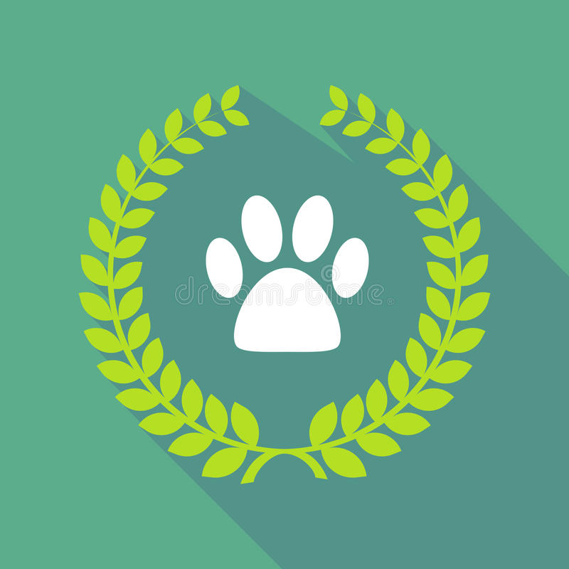 Long shadow laurel wreath icon with an animal footprint vector illustration