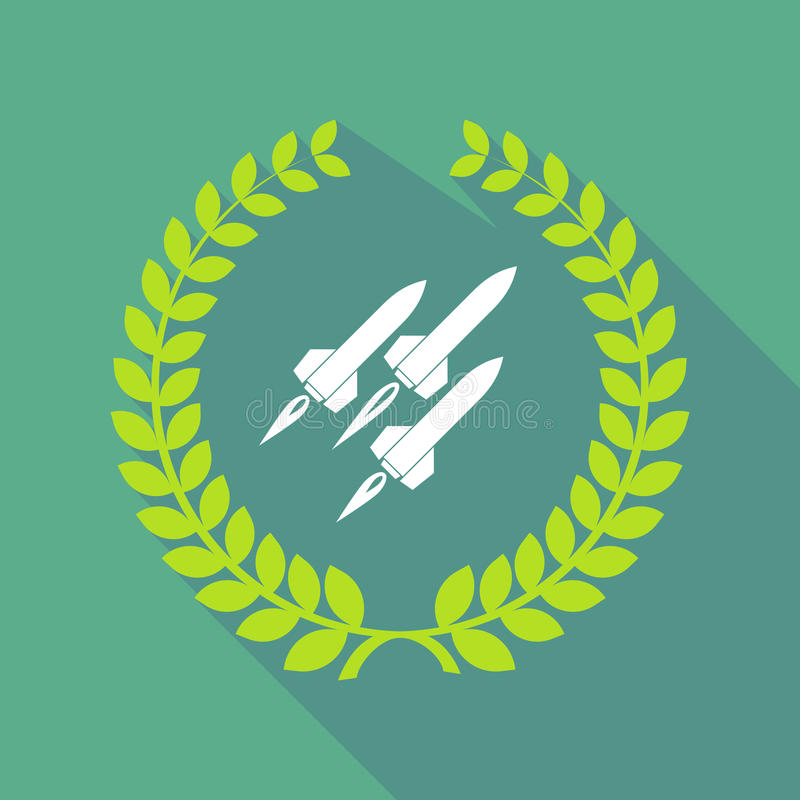 Long shadow laurel wreath icon with missiles royalty free illustration