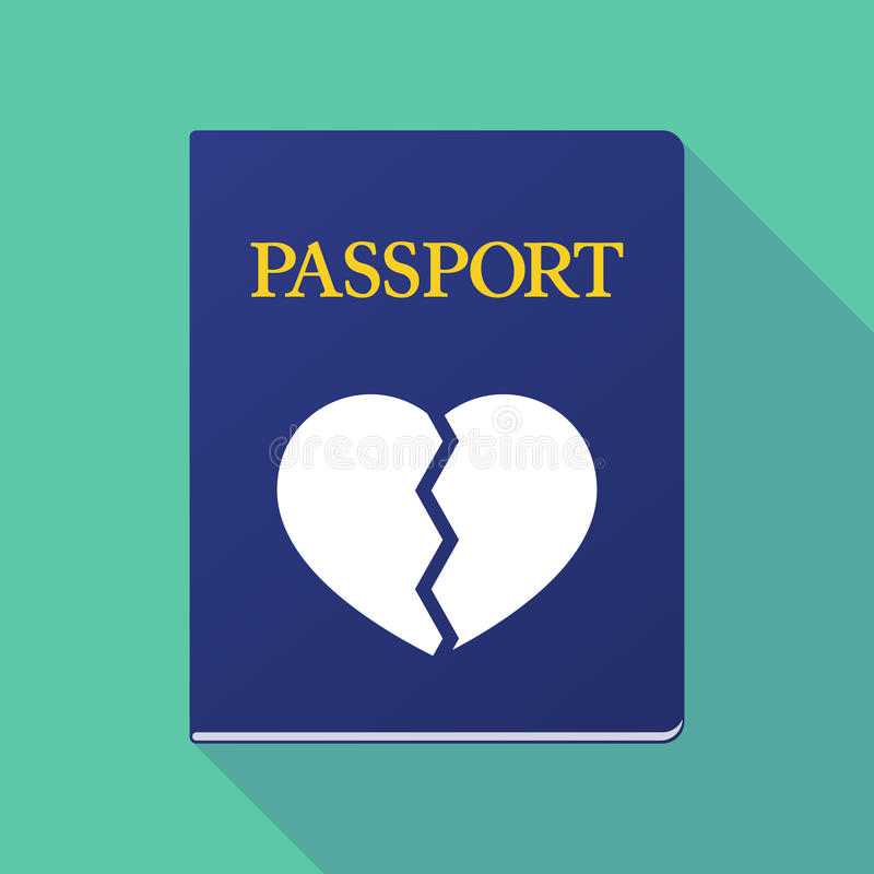 Long shadow passport with a broken heart stock illustration