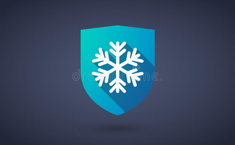 Long shadow shield icon with a snow flake. Illustration of a long shadow shield icon with a snow flake vector illustration