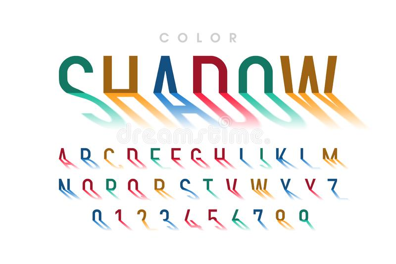 Long shadow style font stock illustration