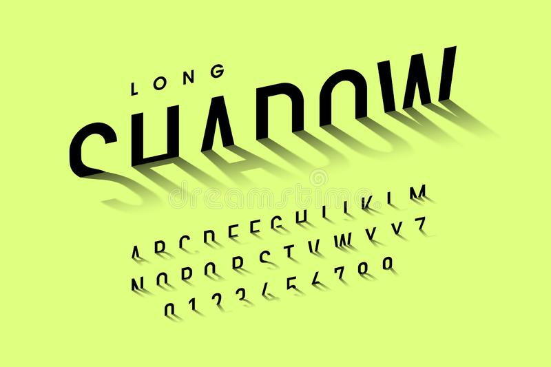 Long shadow style font. Alphabet letters and numbers royalty free illustration