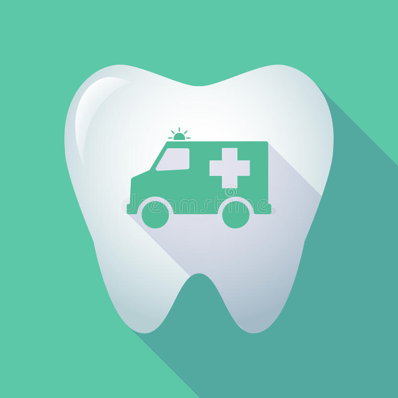 Long shadow tooth with an ambulance icon stock illustration