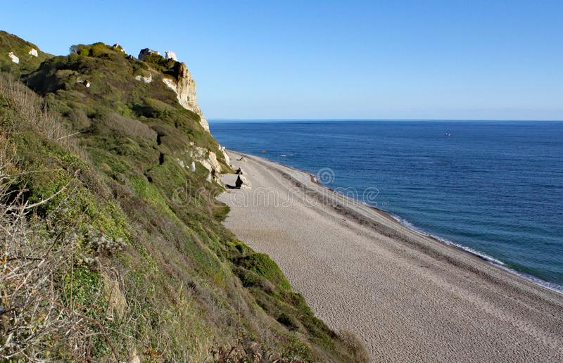 The long shingle beach at Brancombe in Devon, England. This is accessible by walking the coastal path royalty free stock images