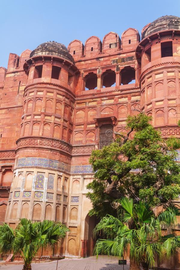 Amar Singh Gate of Agra Fort. Long shot of Agra Fort front gate called Amar Singh Gate at Agra.India stock image