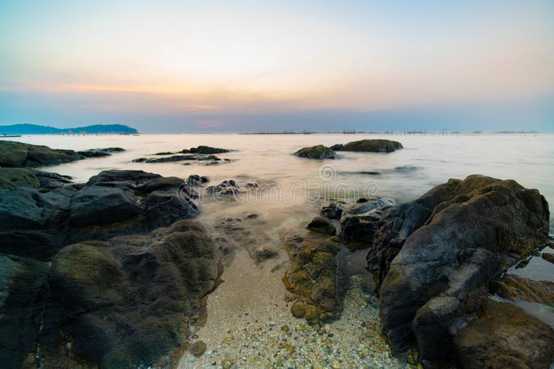 Long shutter speed of evening seascape royalty free stock image