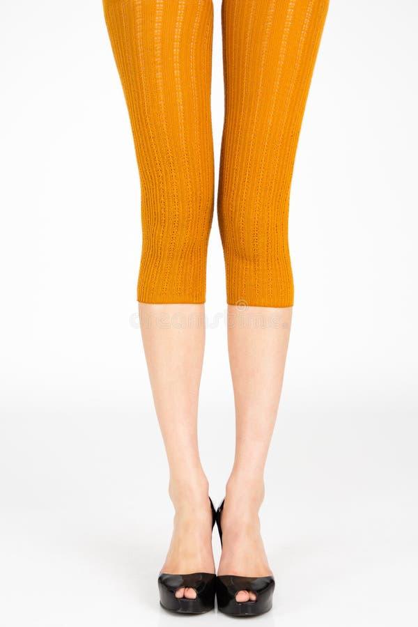 Long slim female legs. Long Slim legs wearing colorful leggins on plain background royalty free stock photography