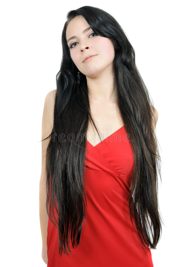 long sourire de beau cheveu de brunette images stock
