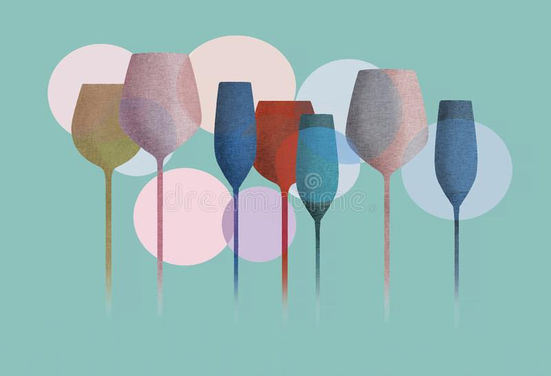 Long stem glassware with texture vector illustration