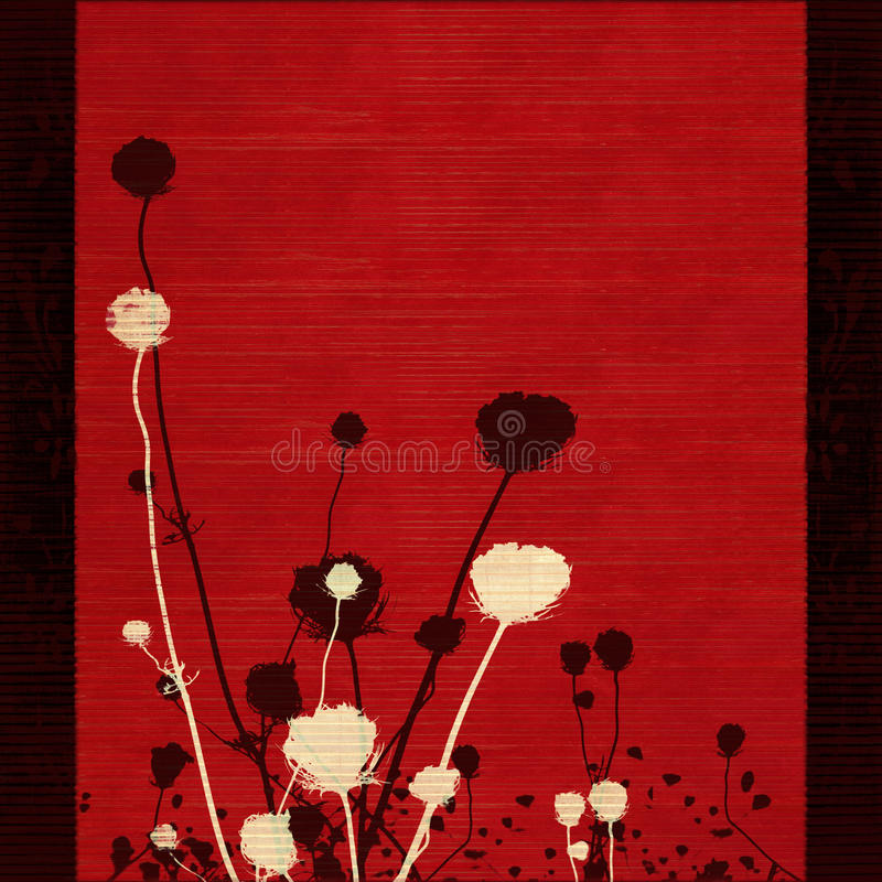 Long-stemmed meadow flower silhouette on red. With black border royalty free stock photo