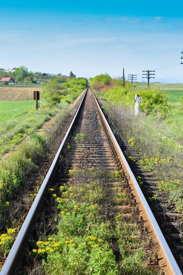 Long straight rails with vegetation stock photos