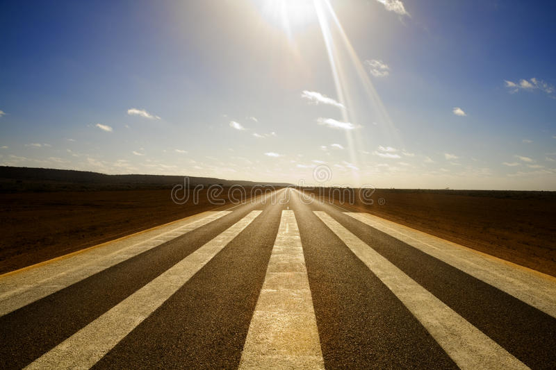 Download Long Straight Road And Runway Markings Stock Image - Image of outback, navigation: 25125071
