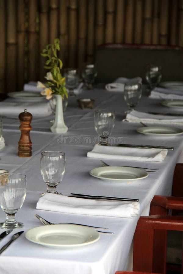 Long Table Set For Dinner On Outside Restaurant Patio Stock Image ...