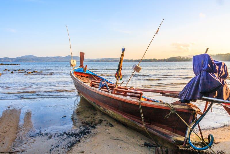 Long tail boat on Bang Tao beach. Phuket, Thailand stock photo