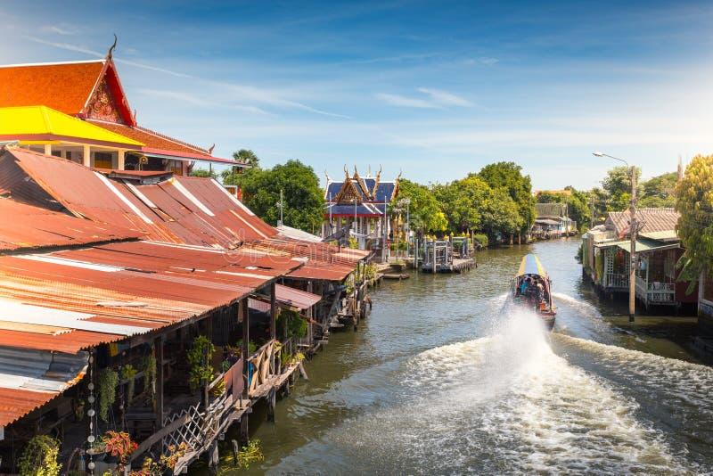The long tail boat at Bangkok yai canal or Khlong Bang Luang Tourist Attraction Thailand.BANGKOK,THAILAND,August 8 2017 royalty free stock images