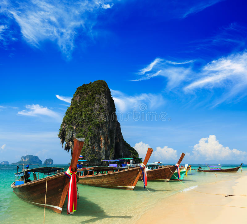 Download Long Tail Boat On Beach, Thailand Stock Photo - Image of raileh, limestone: 27637762