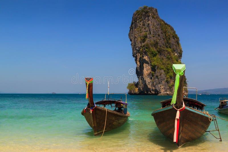 Long tail boat on the beautiful beach and beauty blue sky , poda island , krabi, Thailand.Long tail boat on the beautiful beach royalty free stock photos