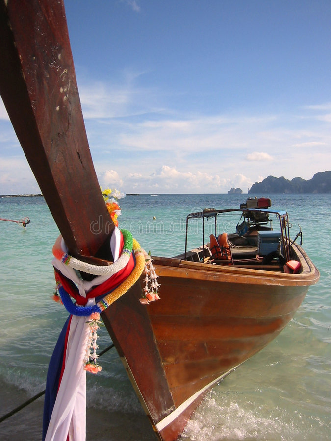 Long tail boat ko phi phi island thailand stock images
