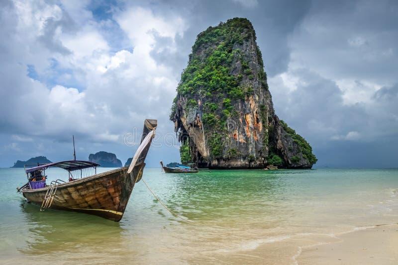 Long tail boat on Phra Nang Beach, Krabi, Thailand. Long tail boat on Phra Nang Beach in Krabi, Thailand royalty free stock photos