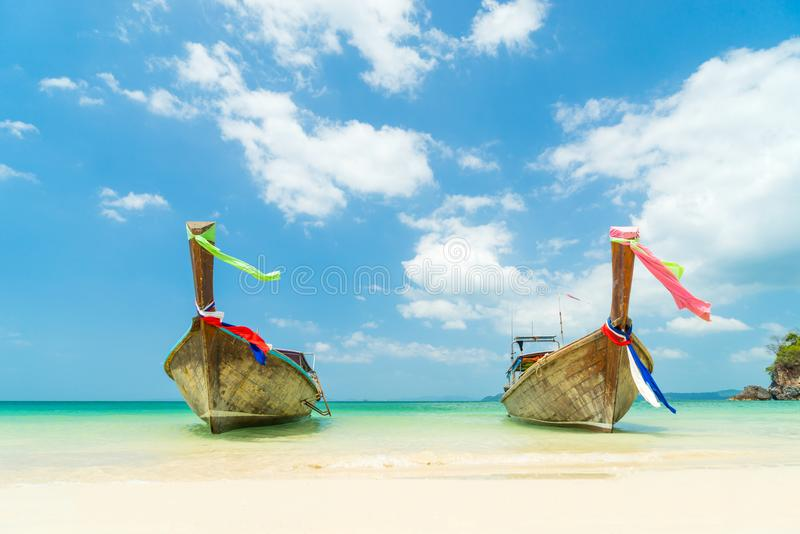 Railay West beach in Ao Nang, Krabi Thailand. Long tail boat on Railay West beach in Ao Nang, Krabi province, Thailand royalty free stock image