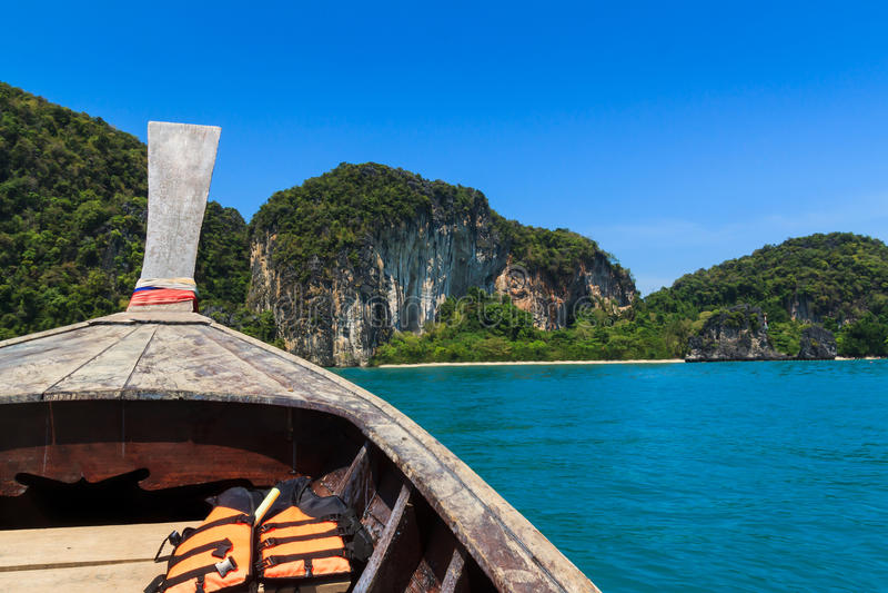 Long tail boat sail on sea , krabi Thailand royalty free stock image