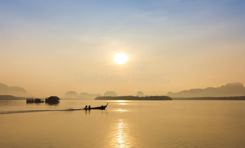 Long tail boat and tropical beach, Andaman Sea, Thailand stock images