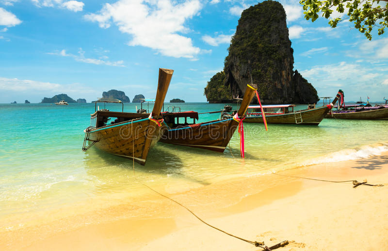 Long tail boat tropical beach, Krabi, Thailand royalty free stock photos