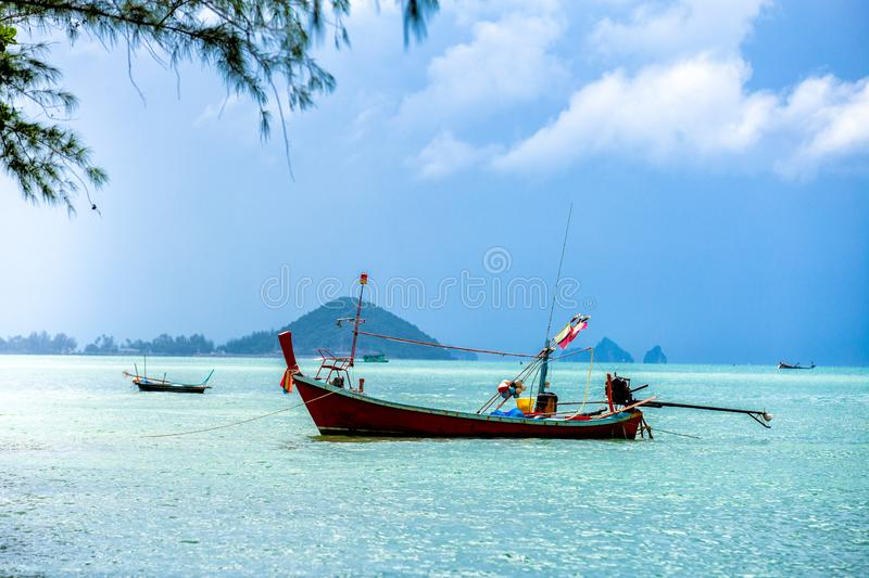 Long tail boat and tropical beach, Samui Island, Thailand royalty free stock images