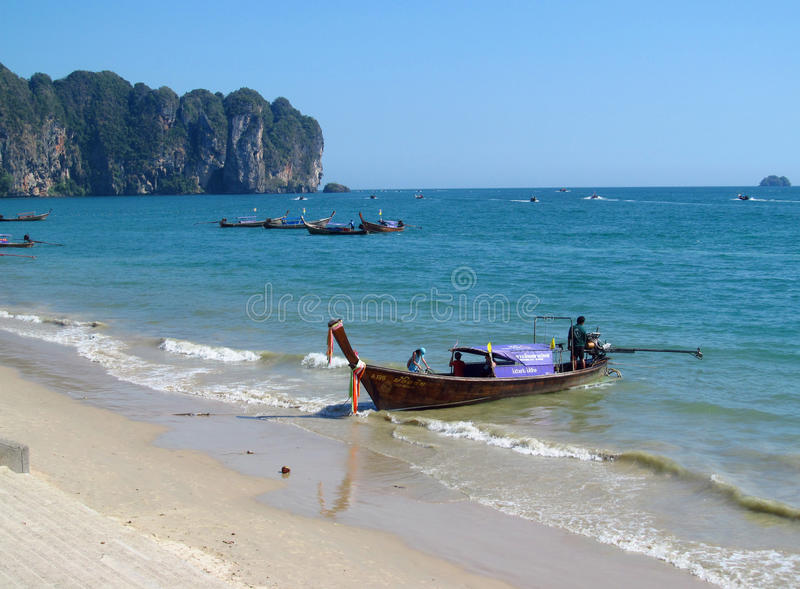 Long tail boats in AoNang Krabi Beaches and Islands Thailand stock photography