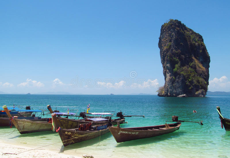Long tail boats in Krabi Beaches and Islands Thailand stock images
