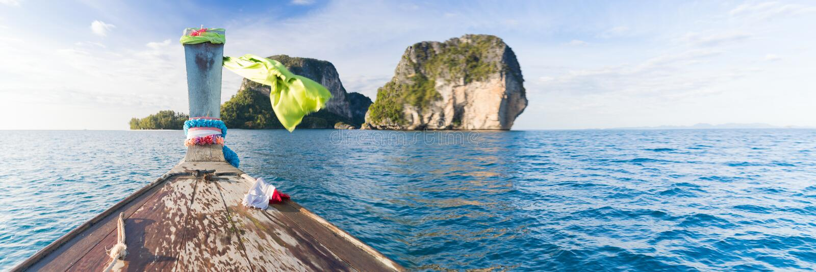 Long Tail Thailand Boat Sailing Mountains Ocean Sea Vacation Travel Trip. Beautiful Nature stock images