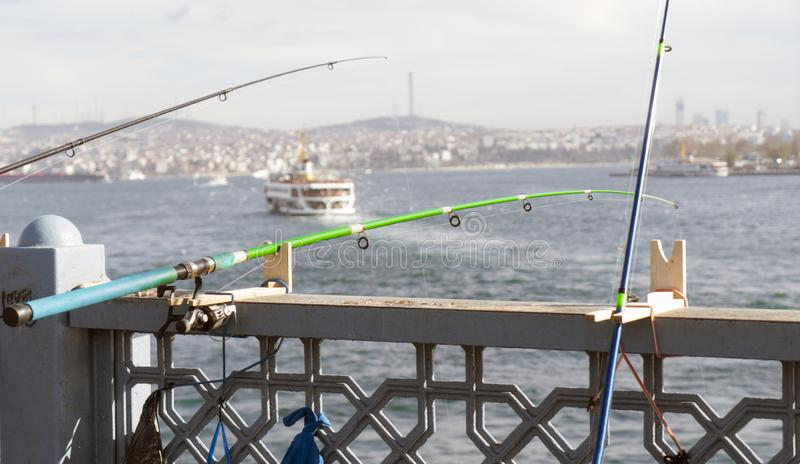 It`s a fishing rod in the Golden Horn. stock images