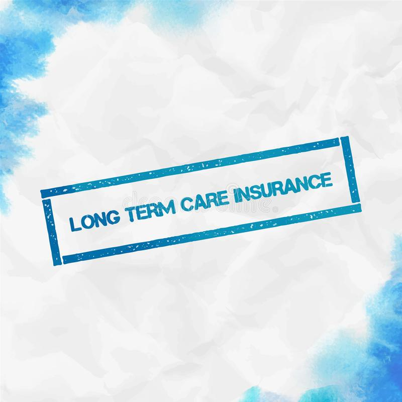 Long term care insurance rectangular stamp. Textured turquoise seal with text, watercolor style. Vector illustration vector illustration