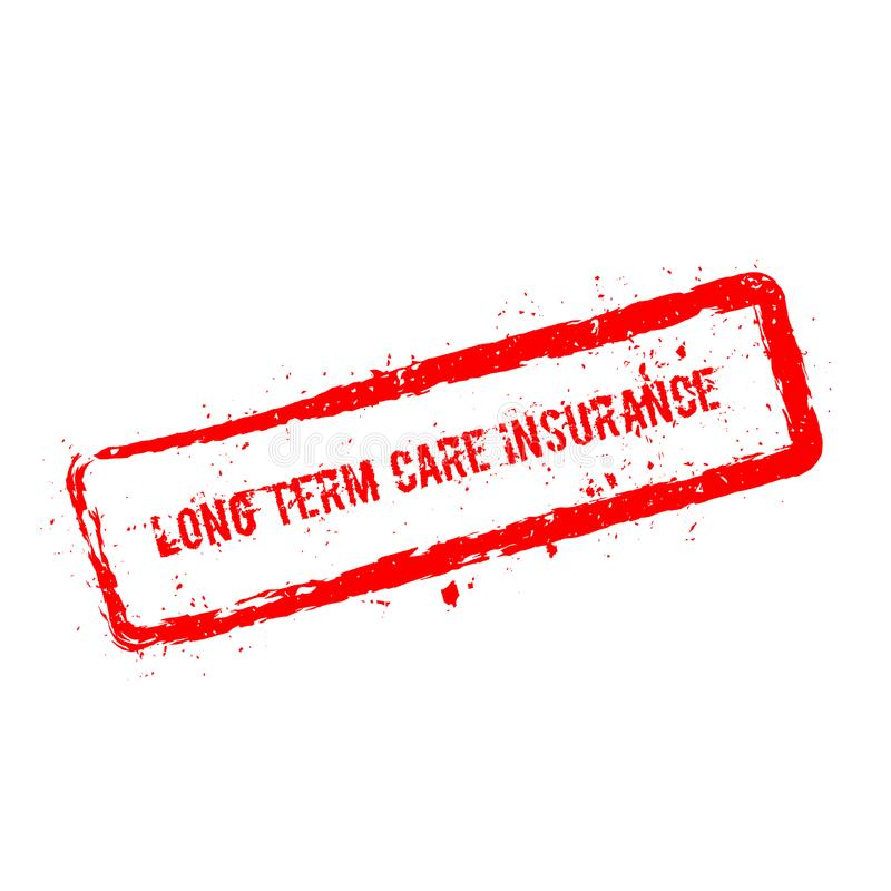 Long term care insurance red rubber stamp. stock illustration