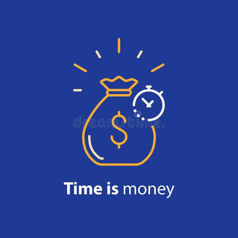 Long term investment, return on investing money, pension fund planning line icon. Time is money, compound interest, financial investments stock market, future vector illustration
