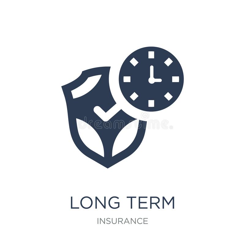 long term protection icon. Trendy flat vector long term protection icon on white background from Insurance collection vector illustration