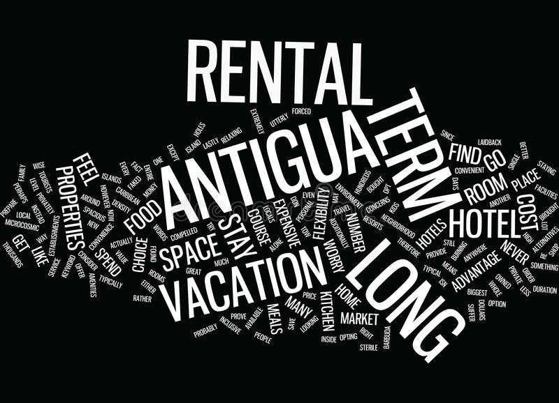 Long Term Rental In Antigua Text Background Word Cloud Concept vector illustration