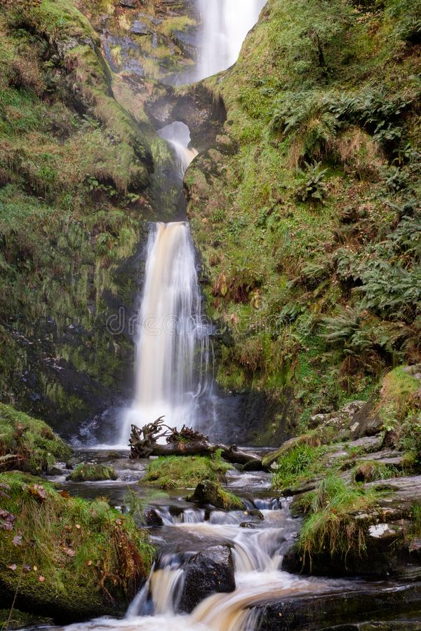 The Lower Half of the Spectacular Pistyll Rhaeadr Waterfall in Wales. stock photo