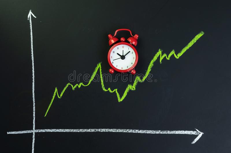 Long time investment, long run uptrend for stock market or stock recover after crisis concept, fluctuate green line chart with stock image